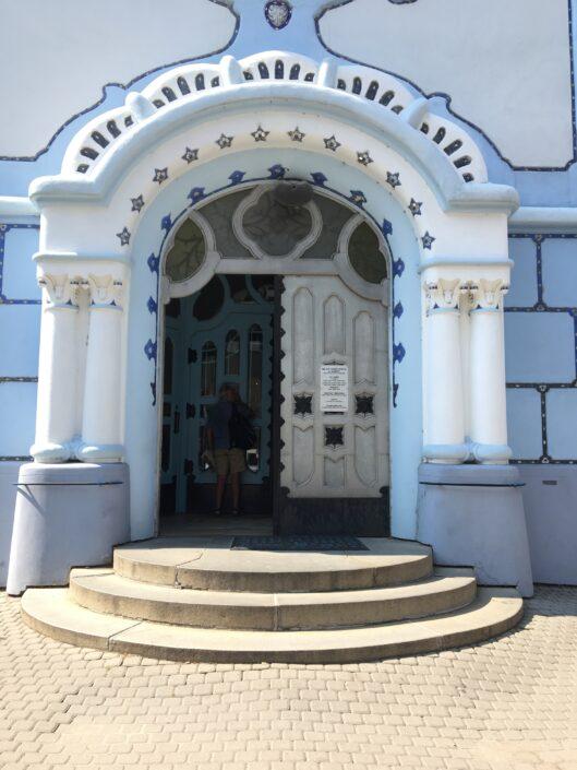 Blue Church Bratislava entrance