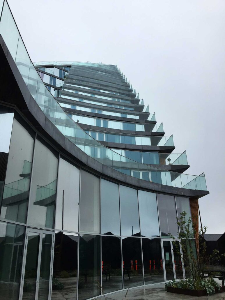 Balconies in Bjarke Ingels highrise in Aarhus