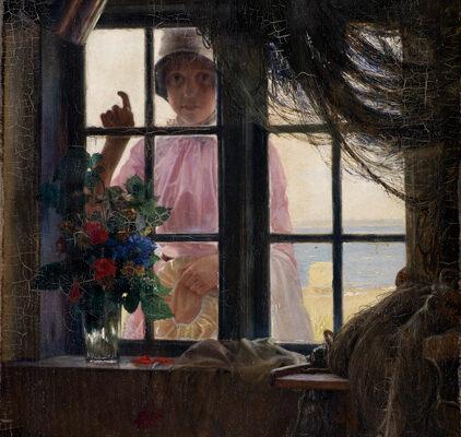 Carl Bloch - en ung pige banker på vinduet